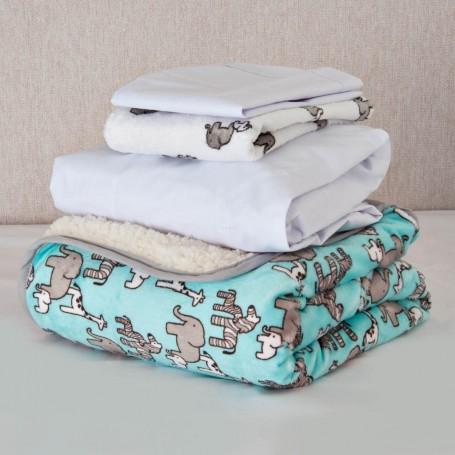 Juego de cobija / sábana ajustable / 2 fundas para almohadas para bebé Elefante Celeste