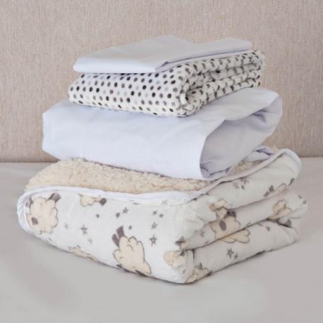 Juego de cobija / sábana ajustable / 2 fundas para almohadas para bebé Oveja Gris