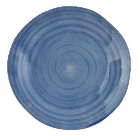 Plato tendido Blanco / Azul Ceramica Cuore
