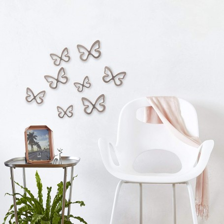 Juego de 8 apliques para pared Mariposas Cromo Umbra