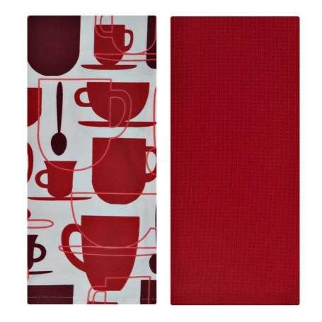 Juego de 2 toallas Tazas Rojo / Blanco 100% algodón Haus