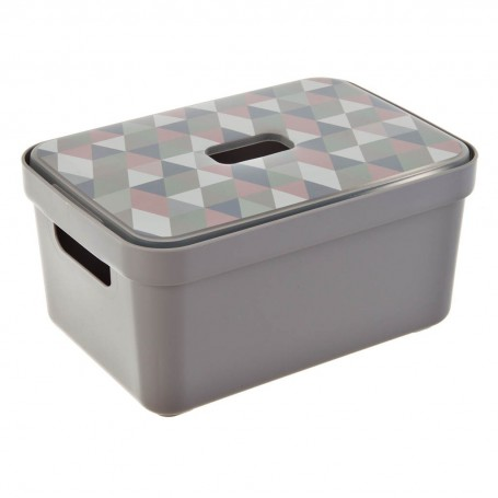 Caja organizadora con tapa y asas Gris claro 5 L Sunware