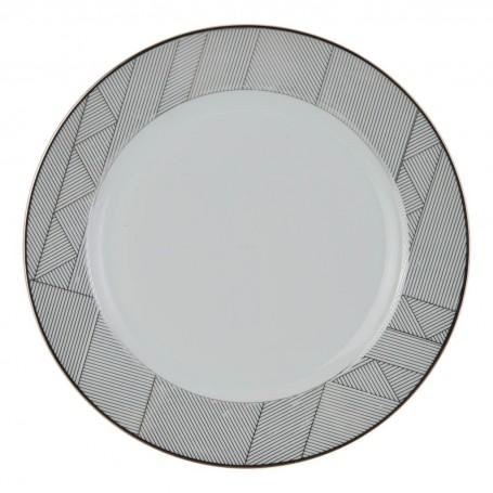 Plato tendido Geométrico Blanco / Plateado Ćmielów