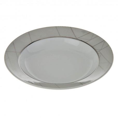 Plato para sopa Geométrico Blanco / Plateado Ćmielów