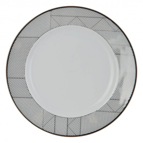 Plato para ensalada Geométrico Blanco / Plateado Ćmielów
