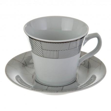 Juego de taza y plato para té Geométrico Blanco / Plateado Ćmielów