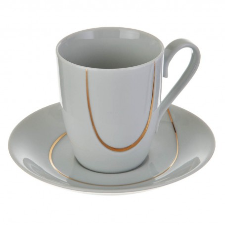 Juego de taza y plato para té Semicírculo Blanco / Dorado Ćmielów