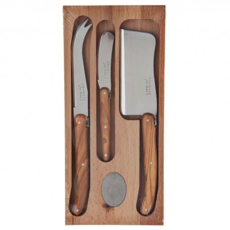 Juego de 3 cuchillos para queso con mango natural de madera Laguiole Jean Dubost