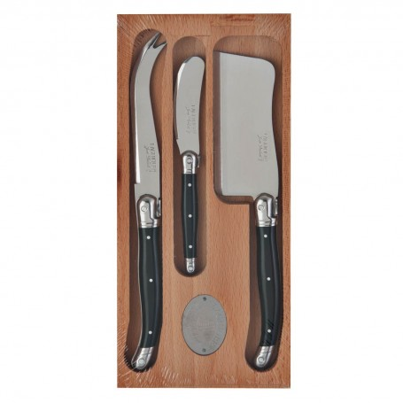 Juego de 3 cuchillos para queso con mango negro Laguiole Jean Dubost