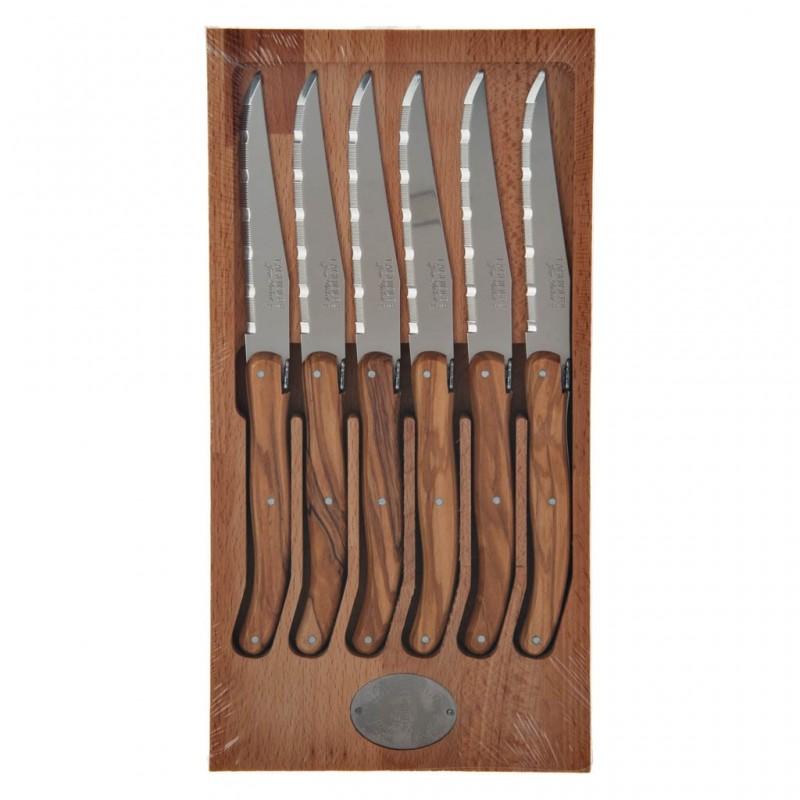 Juego de 6 cuchillos para carne con mango natural de madera Laguiole Jean Dubost