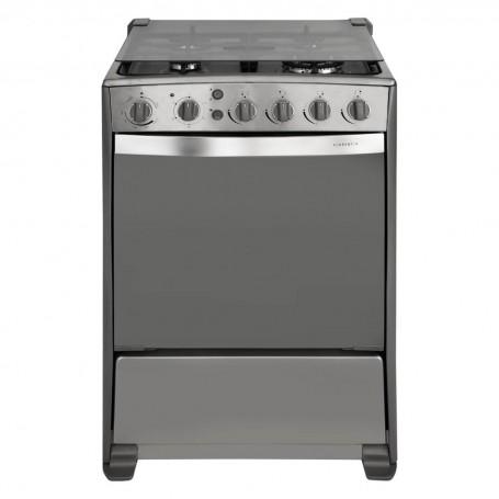 Indurama Cocina a gas con 4 quemadores / 1 Quemador triple / Grill / Asador / Timer / Termostato 60cm Florencia QRZ
