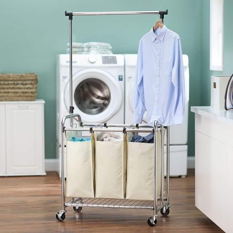 Organizador para lavandería 3 cestos para ropa / Colgador Household Essentials