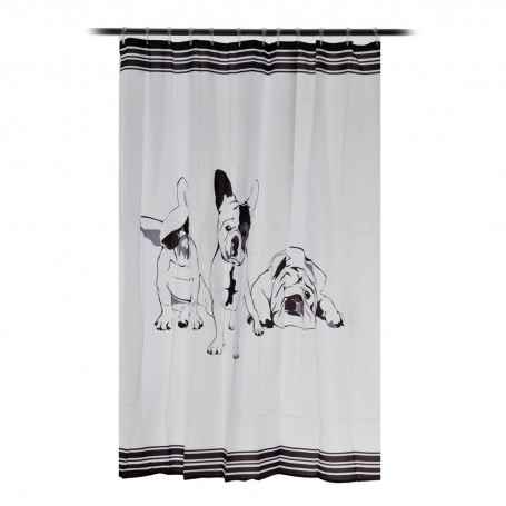 Cortina para baño French Bulldog Interdesign