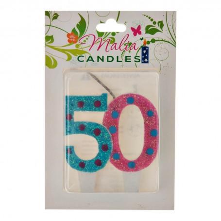 Vela Cumpleaños 50 Colores