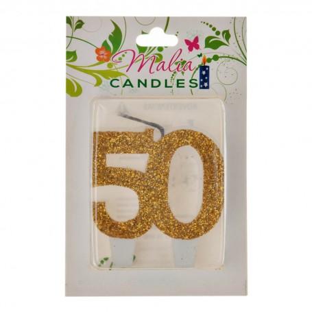 Vela Cumpleaños 50 Dorado