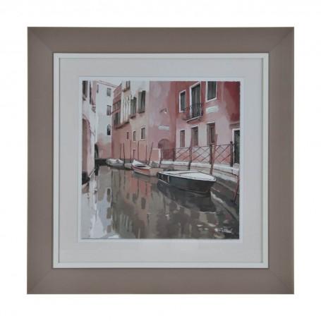 Cuadro con marco Canal de Venecia Rosado / Gris