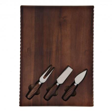 Tabla para queso con cuchillos 4 piezas Borde Trenza Novo