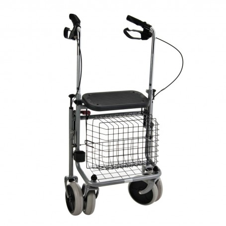 Caminador plegable / ajustable con 4 ruedas / canasta / asiento / bandeja Weinberger