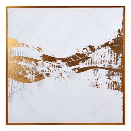 Cuadro con marco Abstracto Blanco / Dorado / Gris