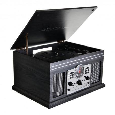 Tocadiscos Bluetooth / AUX / Cassette / CD / Radio FM / Parlantes incorporados Madera VTA-200B-GRY Victrola