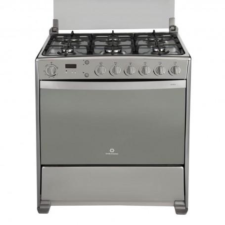 Indurama Cocina a gas con 6 quemadores, grill y asador 80cm Roma Qrz Croma