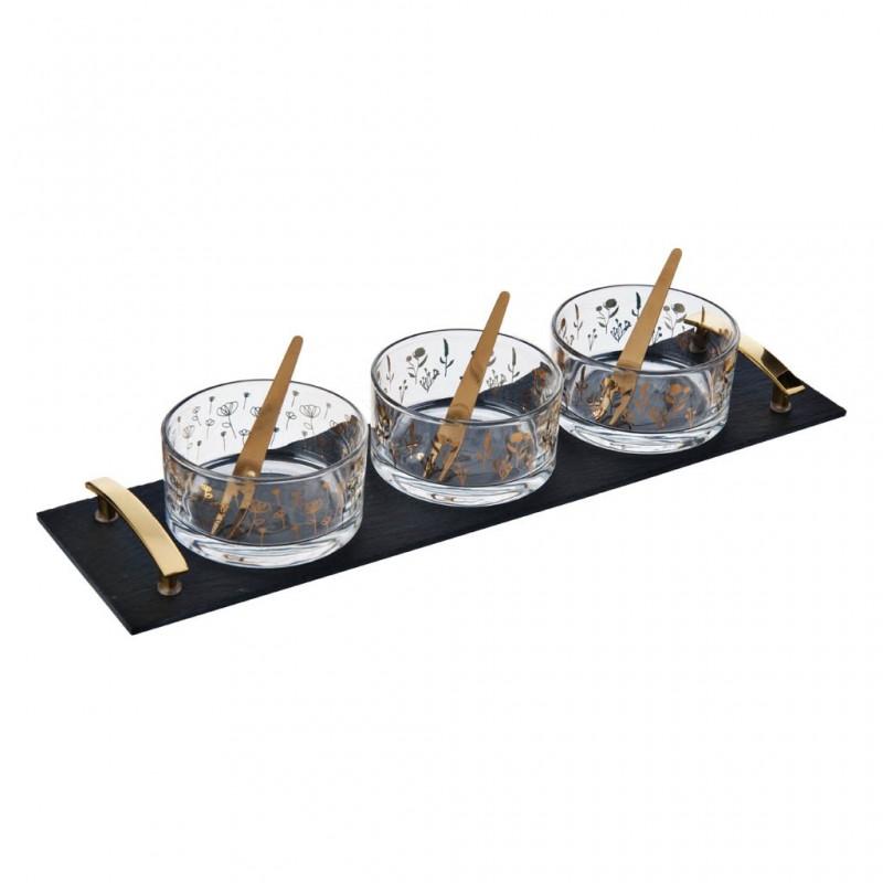 Tabla con 3 pozuelos para postre y tenedores Novo