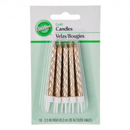 Juego de 10 velas torneadas para cumpleaños Classic Dorado Wilton