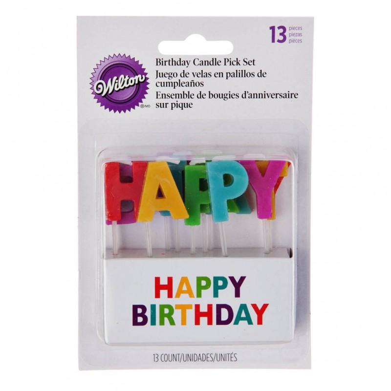 Juego de 13 velas Happy Birthday Wilton