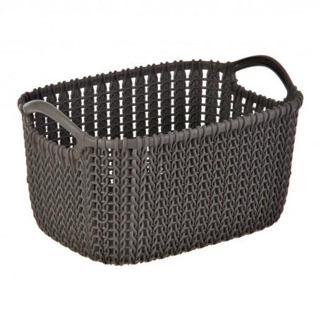 Canasto para ropa con agarraderas Harvest Brown Knit Curver
