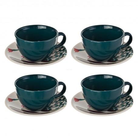 Juego de tazas y platos para té Aquarelle Multi Flores Corona