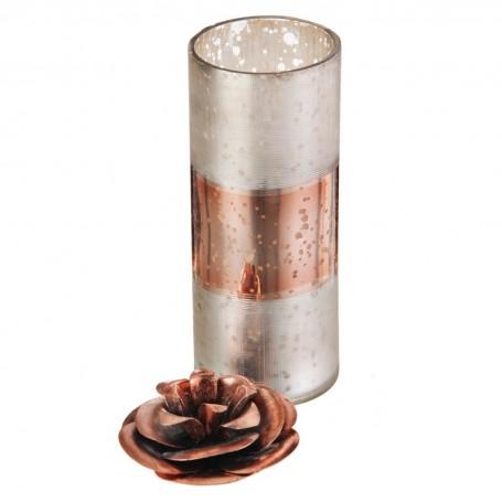 Vela vaso con tapa Flor Rosa Haus