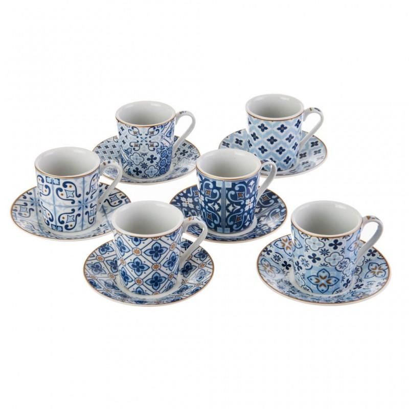 Juego de tazas y platos para espresso con caja de regalo Flor / Arabesco Easy Life