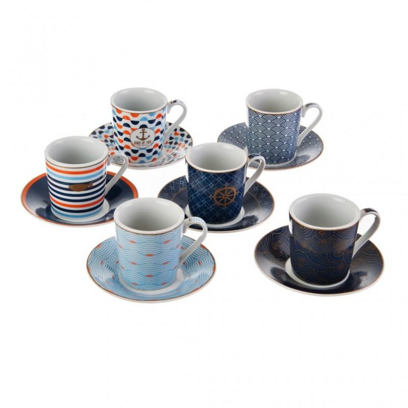 Juego de tazas y platos para espresso con caja de regalo Bord De Mer Easy Life