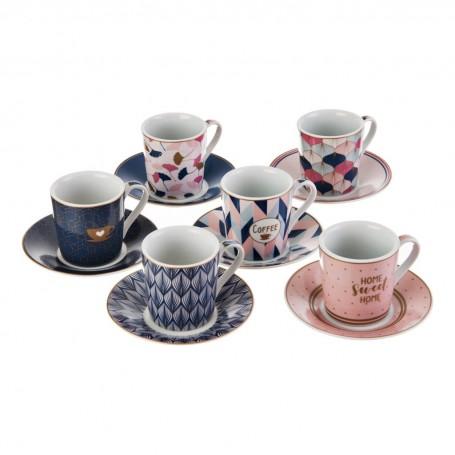 Juego de tazas y platos para espresso con caja de regalo Hojas / Geométrico Coffee Easy Life