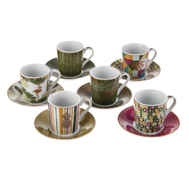 Juego de tazas y platos para espresso con caja de regalo Piña / Flamingo / Hojas Easy Life