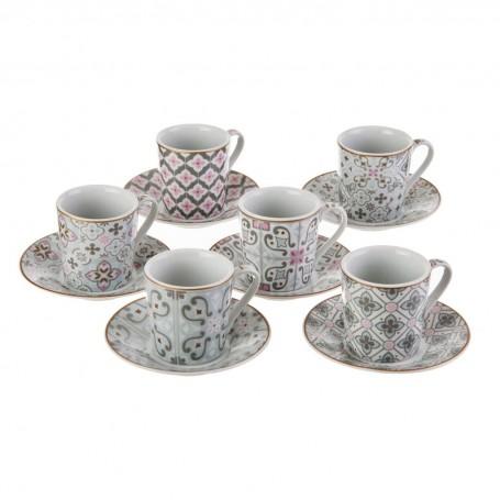 Juego de tazas y platos para espresso con caja de regalo Flor Arabesco Easy Life