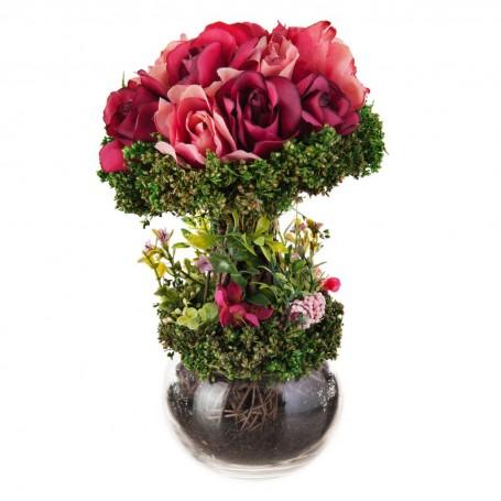 Arreglo floral Rosas Fucsia con base de vidrio