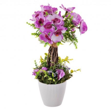 Arreglo floral Lila con base blanca de resina