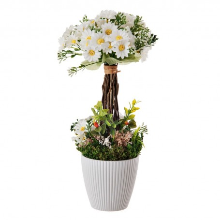 Arreglo floral Blanco con base de resina