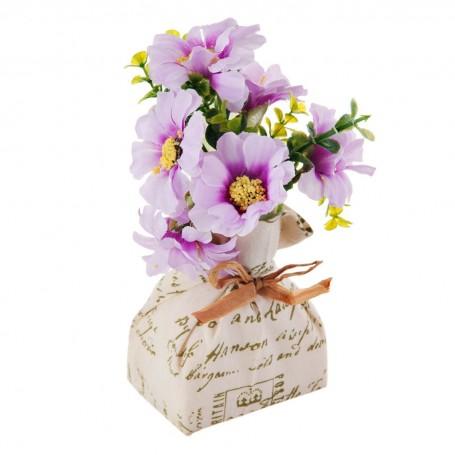 Mini arreglo floral Lila con base de tela