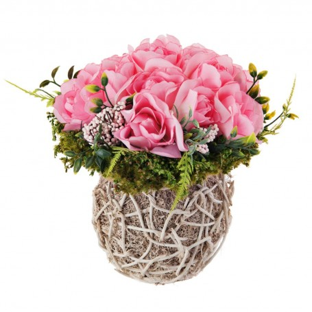 Arreglo floral Rosas Rosado con base