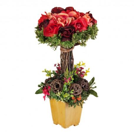 Arreglo floral Rojo / Salmón con base de resina