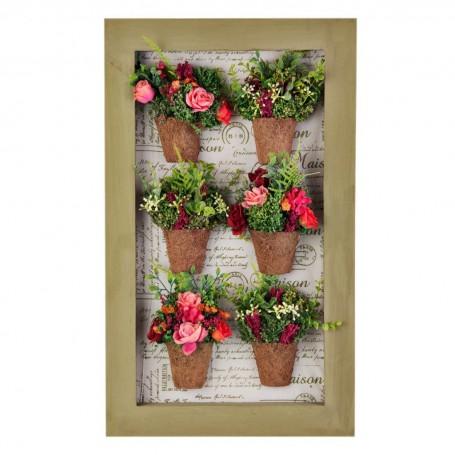 Cuadro con marco y 6 arreglos flores Rojo / Salmón