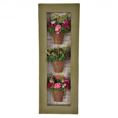 Cuadro con marco y 3 arreglos flores fucsia