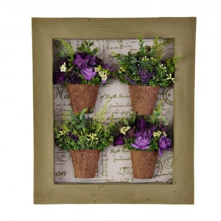 Cuadro con marco y 4 arreglos florales morado