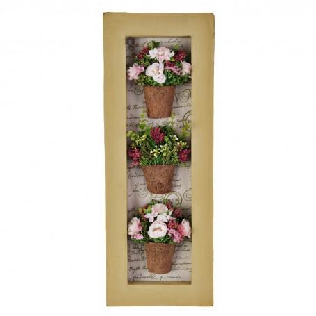 Cuadro con marco y 3 arreglos florales rosados