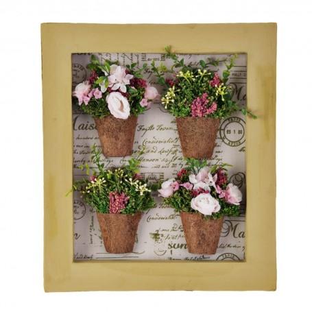 Cuadro con marco y 4 arreglos florales rosados