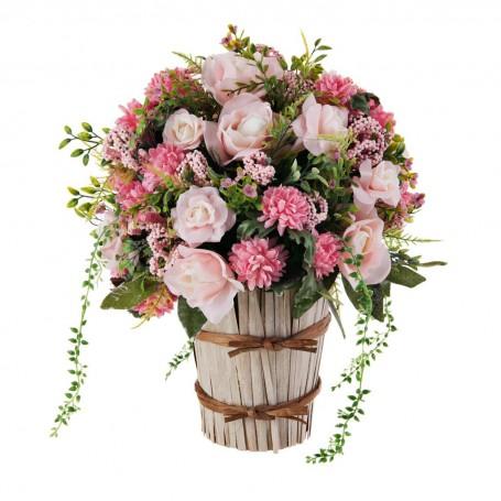 Arreglo floral grande rosas con base de caña
