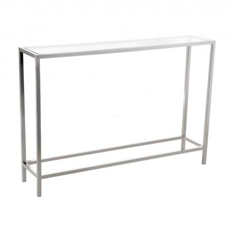 Mesa Consola Delgada Clear / Silver Haus