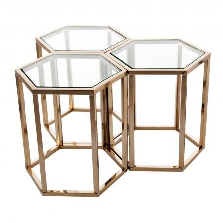 Juego de 3 mesas de centro Hexagonal Haus